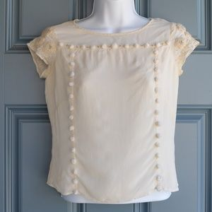 Cream Color Silk Embellished Blouse by Odille Sz 2